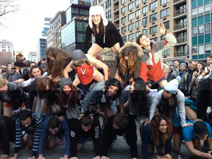 Human pyramid for No Pants Subway Ride 2013