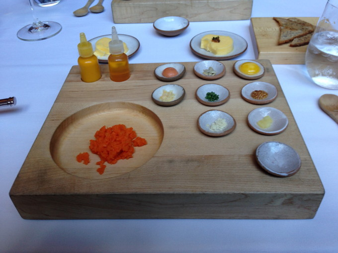 Carrot (Tartare with Rye Bread and Condiments).  You mix and match all the ingredients and sauce to your liking.