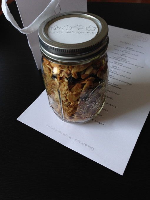 A Jar of Granular and Menu for Take Home.